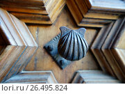 Купить «Detail of the wooden door of the Longa de la Seda, Valencia, Spain», фото № 26495824, снято 10 марта 2017 г. (c) age Fotostock / Фотобанк Лори