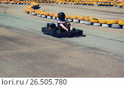 Carting race rushing kart. Стоковое фото, фотограф Dmitriy Melnikov / Фотобанк Лори