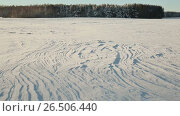 Купить «Winter theme. Field and forest in the snow in sunny weather and great frost.», видеоролик № 26506440, снято 9 мая 2017 г. (c) Mikhail Davidovich / Фотобанк Лори