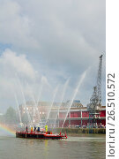 Купить «The old fire-float, Pyronaut, being demonstrated in the docks in front of the M Shed Museum during the Bristol Harbour Festival, England.», фото № 26510572, снято 19 июля 2014 г. (c) age Fotostock / Фотобанк Лори