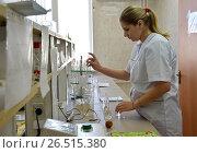 Купить «Беременная женщина-лаборант делает пробы», эксклюзивное фото № 26515380, снято 20 апреля 2017 г. (c) Анна Мартынова / Фотобанк Лори