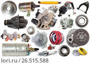 Купить «car repair parts isolated», фото № 26515588, снято 21 августа 2018 г. (c) Яков Филимонов / Фотобанк Лори