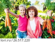 Купить «Девочка с бабушкой в саду», фото № 26517220, снято 26 мая 2013 г. (c) Гладских Татьяна / Фотобанк Лори