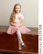 Купить «Beautiful little girl 5-6 years», фото № 26519508, снято 27 апреля 2017 г. (c) Сергей Колесников / Фотобанк Лори