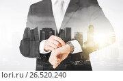 Купить «close up of businessman with wristwatch», фото № 26520240, снято 21 марта 2013 г. (c) Syda Productions / Фотобанк Лори