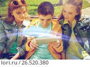 Купить «students or friends with tablet pc outdoors», фото № 26520380, снято 21 мая 2016 г. (c) Syda Productions / Фотобанк Лори