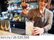 Купить «woman bartender preparing cocktail at bar», фото № 26520568, снято 7 февраля 2017 г. (c) Syda Productions / Фотобанк Лори