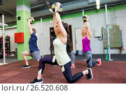 Купить «group of people with medicine ball training in gym», фото № 26520608, снято 19 февраля 2017 г. (c) Syda Productions / Фотобанк Лори
