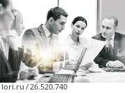 Купить «business team with laptop and papers at office», фото № 26520740, снято 9 ноября 2013 г. (c) Syda Productions / Фотобанк Лори