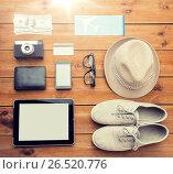 Купить «close up of gadgets and traveler personal stuff», фото № 26520776, снято 8 февраля 2016 г. (c) Syda Productions / Фотобанк Лори
