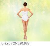 Купить «beautiful woman in white underwear over green», фото № 26520988, снято 9 апреля 2017 г. (c) Syda Productions / Фотобанк Лори