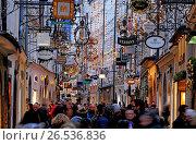 Купить «Christmas Decorations in Getreidegasse, Salzburg, Austria, Europe», фото № 26536836, снято 15 декабря 2014 г. (c) age Fotostock / Фотобанк Лори