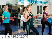 Women having group aerobic train. Стоковое фото, фотограф Яков Филимонов / Фотобанк Лори