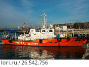 Купить «Краснодарский край, Туапсе, катер морской инспекции в акватории порта», фото № 26542756, снято 21 января 2019 г. (c) glokaya_kuzdra / Фотобанк Лори