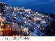 Ночная Фира - столица Санторини, Греция, фото № 26546448, снято 9 июня 2017 г. (c) Наталья Волкова / Фотобанк Лори