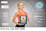 Купить «sporty woman with fitness application on tablet pc», фото № 26547088, снято 8 мая 2014 г. (c) Syda Productions / Фотобанк Лори