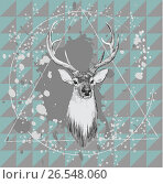 Illustration with deer head. Hand drawn vector. Стоковая иллюстрация, иллюстратор Irene Shumay / Фотобанк Лори