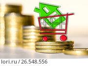 Купить «Cимвол  недвижимости на фоне денег», фото № 26548556, снято 23 марта 2017 г. (c) Сергеев Валерий / Фотобанк Лори