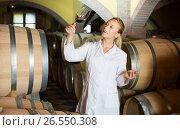 Купить «Woman checking ageing process of wine», фото № 26550308, снято 21 сентября 2016 г. (c) Яков Филимонов / Фотобанк Лори