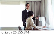 Купить «business team with papers and tablet pc at hotel», видеоролик № 26555744, снято 7 июня 2017 г. (c) Syda Productions / Фотобанк Лори
