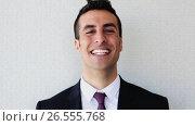 Купить «happy smiling businessman or man in suit», видеоролик № 26555768, снято 8 декабря 2019 г. (c) Syda Productions / Фотобанк Лори