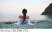Купить «Young happy woman on the european beach in Cinque Terre in Italy. SLOW MOTION», видеоролик № 26556172, снято 15 июня 2017 г. (c) Дмитрий Травников / Фотобанк Лори