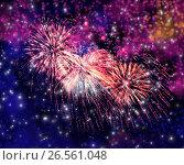 Beautiful fireworks in a night sky, фото № 26561048, снято 8 августа 2015 г. (c) ElenArt / Фотобанк Лори
