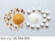 Купить «Белый рафинированный и коричневый тростниковый сахар на столе. Польза и вред для здоровья», фото № 26564956, снято 20 июня 2017 г. (c) Виктория Катьянова / Фотобанк Лори