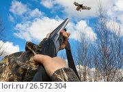 Купить «Охотник стреляет из ружья в утку», фото № 26572304, снято 25 апреля 2016 г. (c) Павел Родимов / Фотобанк Лори