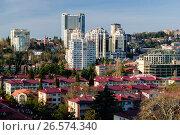 Купить «Сочи, вид сверху на городскую застройку в Центральном районе», фото № 26574340, снято 25 августа 2019 г. (c) glokaya_kuzdra / Фотобанк Лори