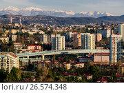 Купить «Сочи, вид сверху на городскую застройку в Центральном районе», фото № 26574348, снято 25 августа 2019 г. (c) glokaya_kuzdra / Фотобанк Лори