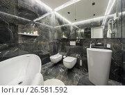 Купить «Luxury bathroom in modern style», фото № 26581592, снято 20 февраля 2019 г. (c) Andriy Bezuglov / Фотобанк Лори