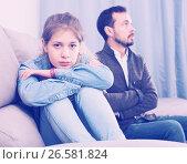 Купить «Father and daughter arguing», фото № 26581824, снято 4 марта 2017 г. (c) Яков Филимонов / Фотобанк Лори