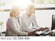 Купить «business team with tablet pc computer at office», фото № 26584496, снято 1 октября 2016 г. (c) Syda Productions / Фотобанк Лори