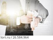 Купить «close up of businessman with wristwatch and coffee», фото № 26584964, снято 21 марта 2013 г. (c) Syda Productions / Фотобанк Лори
