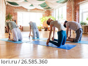 Купить «group of people doing camel pose at yoga studio», фото № 26585360, снято 5 марта 2017 г. (c) Syda Productions / Фотобанк Лори