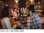Купить «Romantic couple having red wine», фото № 26586428, снято 14 ноября 2016 г. (c) Wavebreak Media / Фотобанк Лори