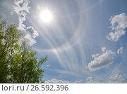 Купить «Весенний пейзаж с солнечным гало и голубым небом», эксклюзивное фото № 26592396, снято 19 мая 2017 г. (c) Елена Коромыслова / Фотобанк Лори
