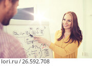 Купить «creative team with scheme on flip board at office», фото № 26592708, снято 27 февраля 2016 г. (c) Syda Productions / Фотобанк Лори