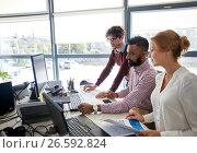 Купить «business team with computers and papers at office», фото № 26592824, снято 1 октября 2016 г. (c) Syda Productions / Фотобанк Лори