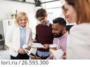 Купить «business team with tablet pc and coffee at office», фото № 26593300, снято 1 октября 2016 г. (c) Syda Productions / Фотобанк Лори