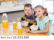 Купить «Portrait of smiling sibling having breakfast cereal in kitchen», фото № 26593880, снято 26 января 2017 г. (c) Wavebreak Media / Фотобанк Лори