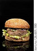Купить «Burger With Vegetables», фото № 26601180, снято 22 марта 2017 г. (c) Андрей Скат / Фотобанк Лори