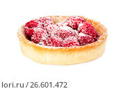 Купить «Tartlet with fresh raspberries and powdered sugar», фото № 26601472, снято 6 июня 2017 г. (c) Наталия Пыжова / Фотобанк Лори