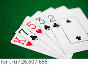 Купить «poker hand of playing cards on green casino cloth», фото № 26607656, снято 15 марта 2017 г. (c) Syda Productions / Фотобанк Лори