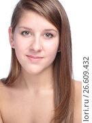 Купить «Close-up portrait of beautiful young woman», фото № 26609432, снято 27 января 2012 г. (c) Tatjana Romanova / Фотобанк Лори