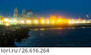 Купить «night view of Cathedral and ocean coast in Cadiz», фото № 26616264, снято 20 ноября 2014 г. (c) Яков Филимонов / Фотобанк Лори