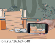 hand with phone with 3D office lines with color on the screen and with the same background. Стоковое фото, агентство Wavebreak Media / Фотобанк Лори