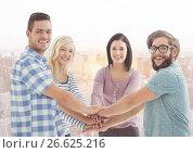 Купить «Smiling Friends with hands together», фото № 26625216, снято 4 июля 2020 г. (c) Wavebreak Media / Фотобанк Лори