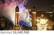 Купить «Christmas holidays in the Plaza of Spain in Barcelona», видеоролик № 26640588, снято 9 января 2017 г. (c) Яков Филимонов / Фотобанк Лори